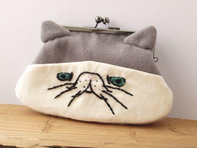 猫顔がまぐち(L)(グレー)