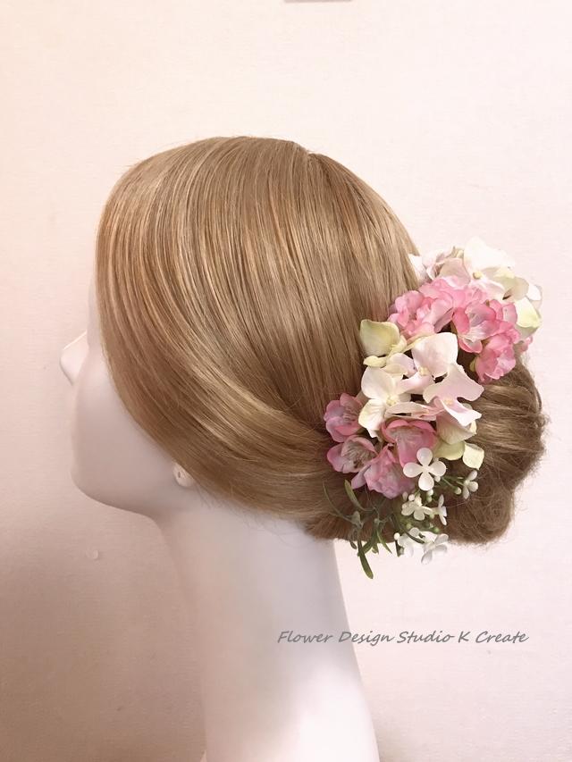 ウェディングに?八重桜と紫陽花のヘッド...