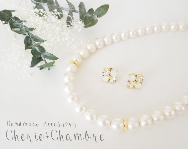 Cotton Pearl Necklace&Bijou Pierce Set