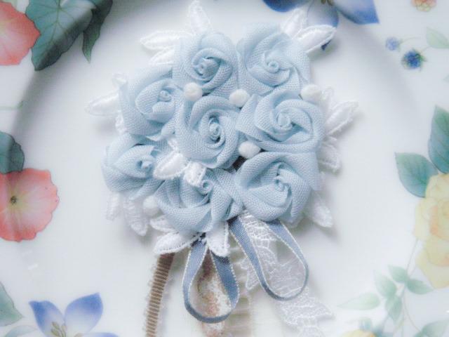 New ☆ベビーブルー ブーケ ブローチ