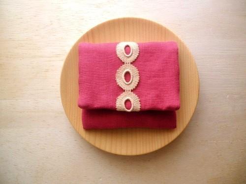 mini purse pouch (lace & linen pink)