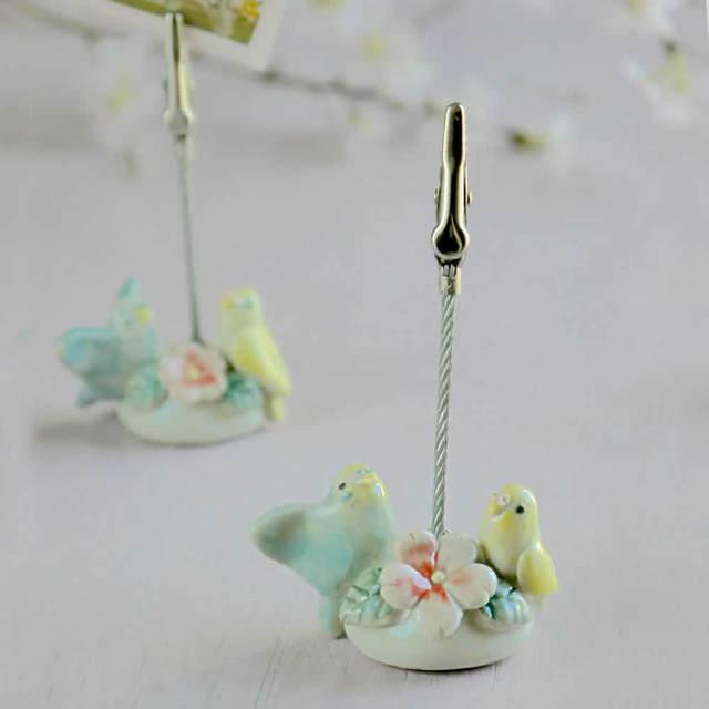 小鳥メモスタンド「桜とセキセイインコ」