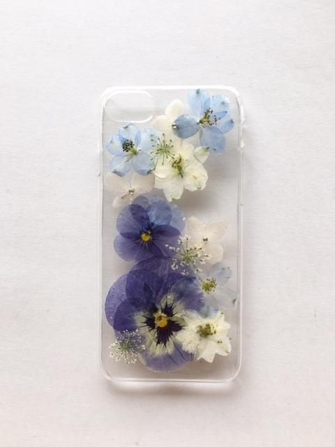 iphone7/6/6S  ブルービオラの押し花ケース