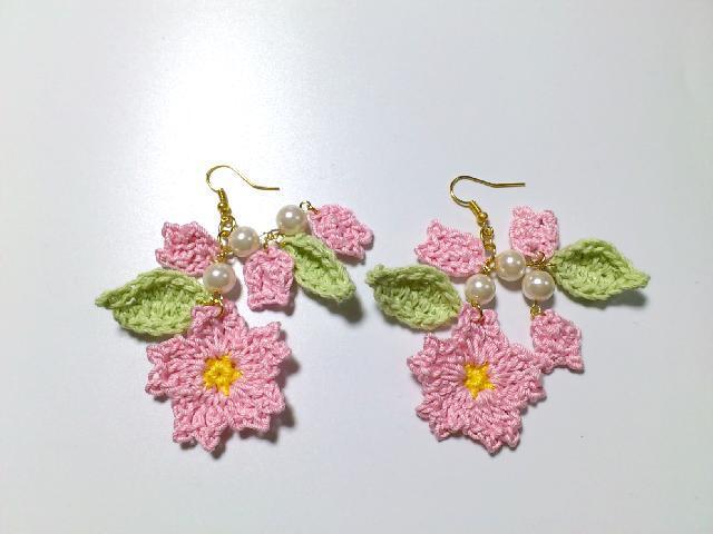 ハンドメイドピアス/桜パール