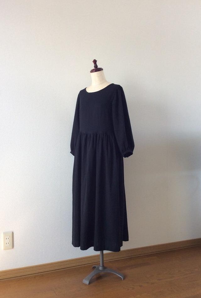 スラブWガーゼの七分袖ワンピース☆ブラ...