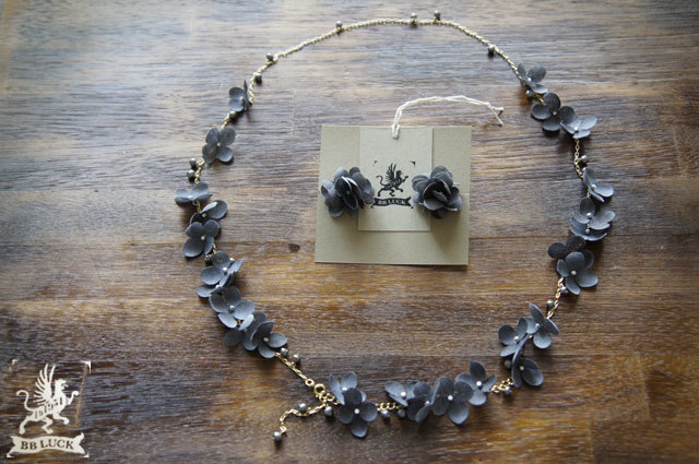 necklace set【 布花ロングネックレス &...