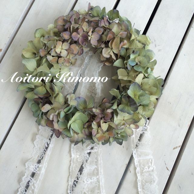 《送料無料》シャビーシックな紫陽花リース