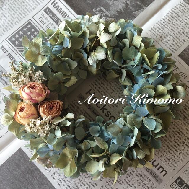 ≪送料無料≫まんまるローズの紫陽花リース