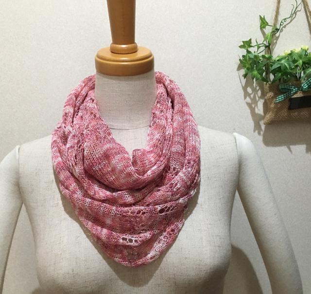 春夏 透かし編みスヌード  さくら色