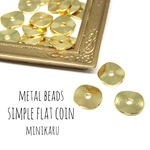 metal beads simple flat coin〜20pcs〜
