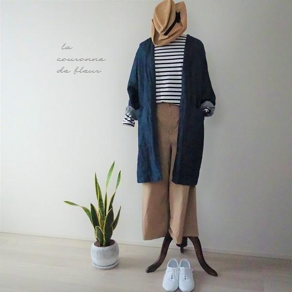 綿麻デニムシャンブレーのノーカラーコート