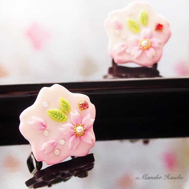 [受注制作]桜の帯留めpink