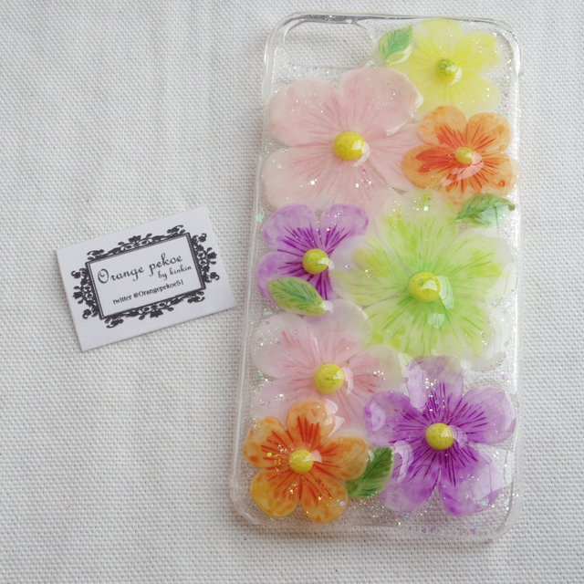 iPhone7お花畑ケース マルチカラー