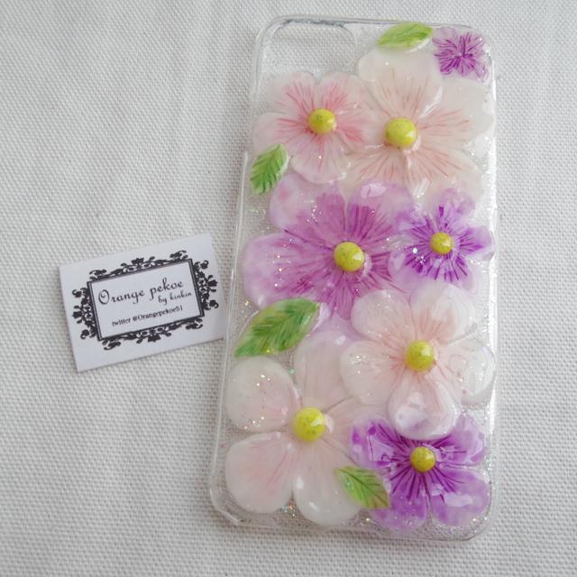 iPhone7お花畑ケース ピンク系
