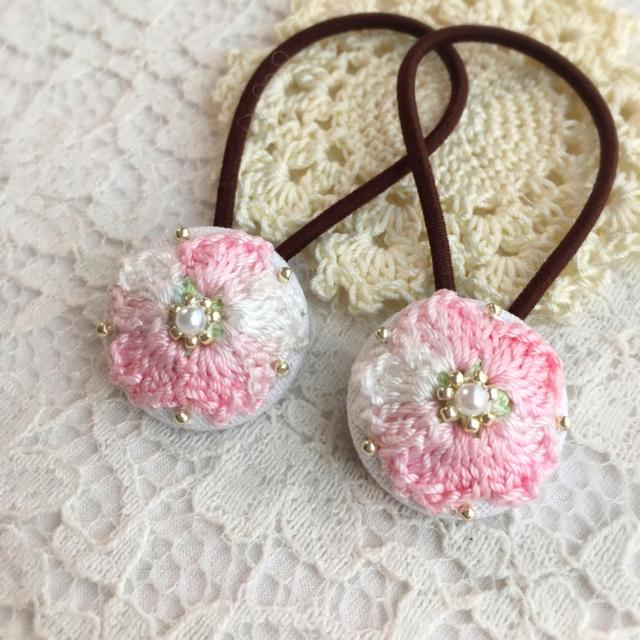 送料無料?きらきら桜のくるみボタンヘア...