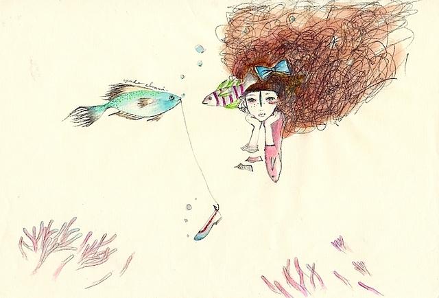 原画 わたし、人魚姫。毎日獲物をココ...