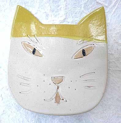 猫小皿 白&黄色