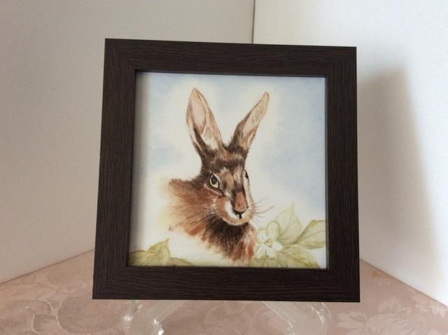 ウサギのタイル額絵の