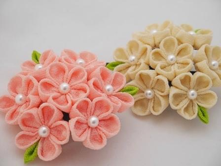 葉つきお花飾り2個セット(曙、薄黄)