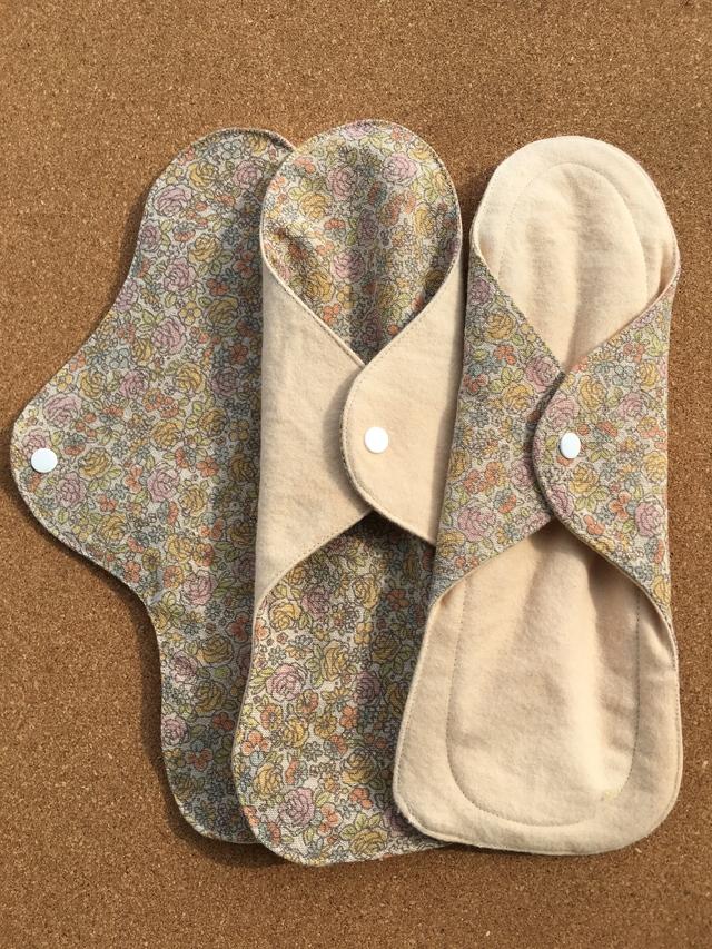 草木花染(ビワの葉)ふんわり布ナプキンL3枚セット