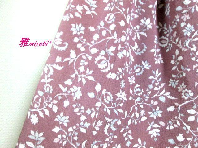 裏付き優しい花柄絹ふんわり着物地スカート