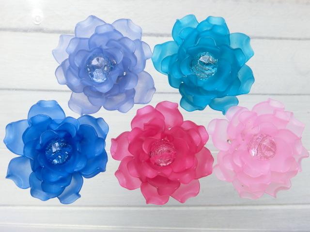 5個 お花のぷらパーツ 手編み  45...
