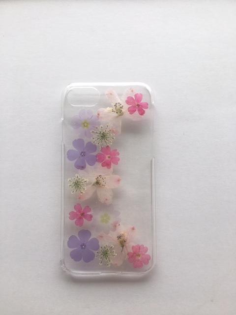 iphone7/6/6S  透明感のある押し花ケース