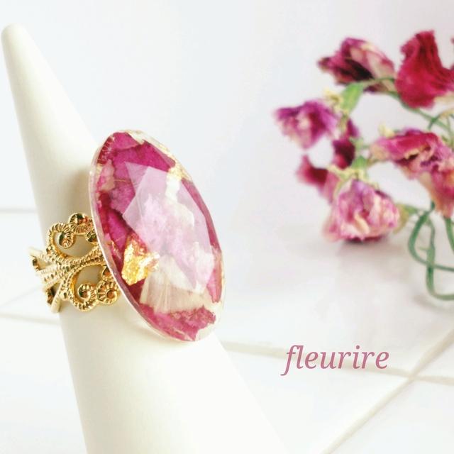 春の花シリーズ♡スターチスとバラのクラシカルリング(レジンアクセサリー)