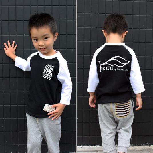 【JIKUU】キッズラグラン7分袖Tシャツ『09J』