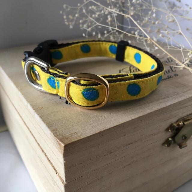 超小型犬用 首輪 黄色にブルーのドット模様