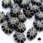 [20pcs] 20x15mm Antique Black Flower Vintage Beads ・アンティーク アクリルビーズ