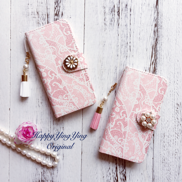 【レース柄ピンク】iphone7 iphone6 ip...