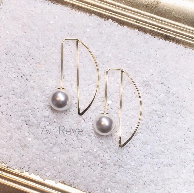 k16gp ◇ half moon pearl pierce ◇