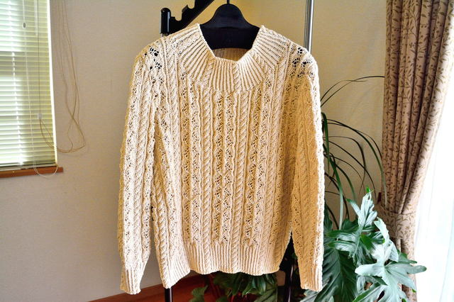 婦人コットン100%生成り手編み長袖サマーセーター (送料込み価格)