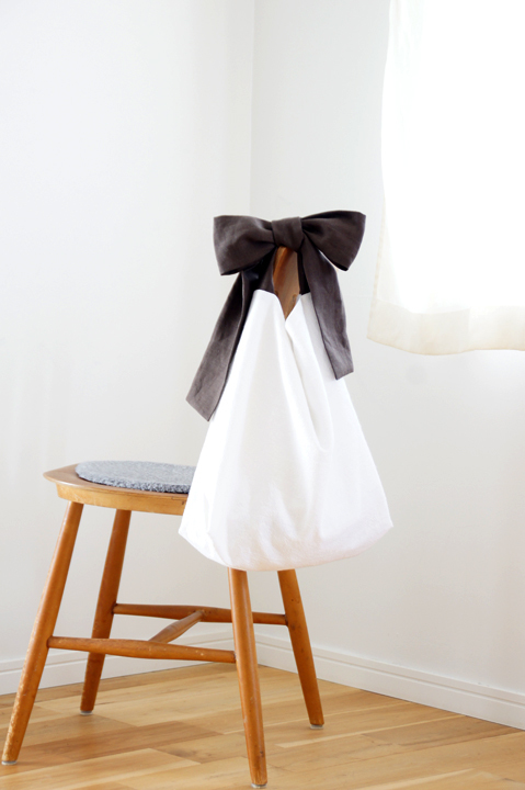 ★new★綿麻リボンのバッグ(ブラウン)