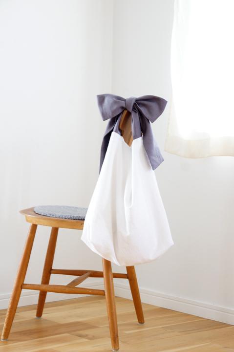 ★new★綿麻リボンのバッグ(チャコール...