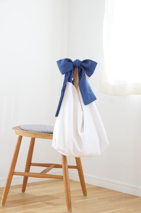 ★new★綿麻リボンのバッグ(ブルーネイ...
