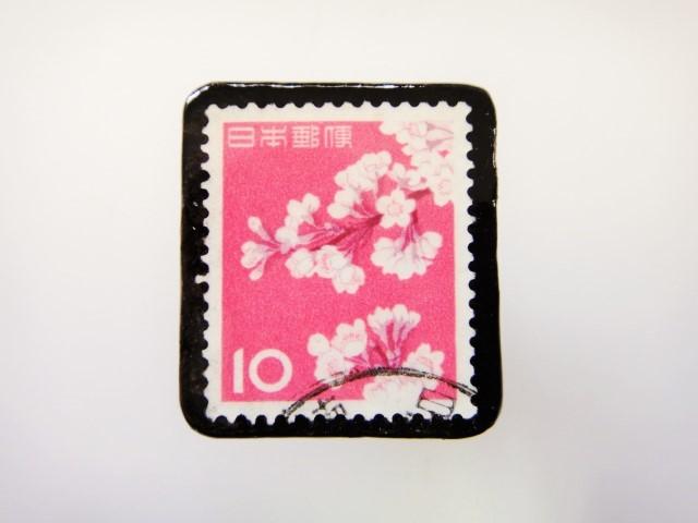 日本 桜切手ブローチ2415
