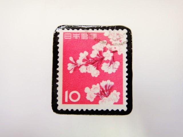 日本 桜切手ブローチ2416