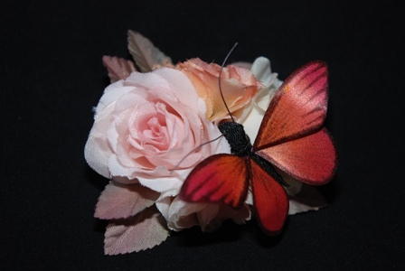 蝶とお花の2wayクリップ