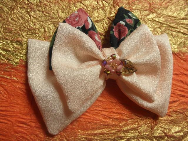 桜と薔薇の和洋髪飾り(バレッタ)