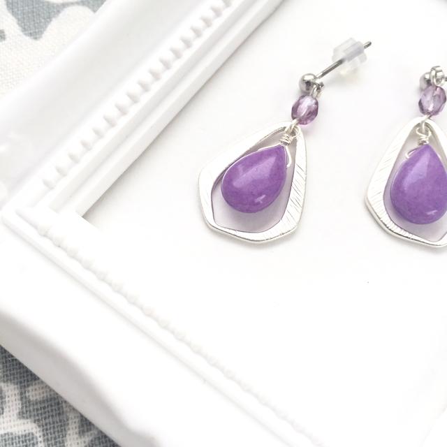 パープル・レイン(紫と銀のシンプルピアス