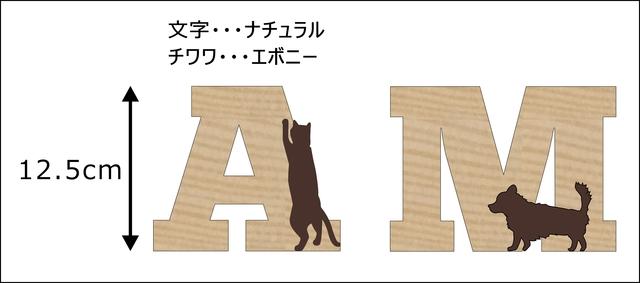 G様ご注文分☆チワワと猫が遊ぶ文字「A M」
