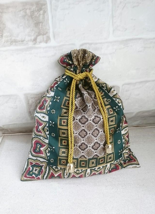 ヴィンテージ風スカーフ柄・巾着袋?