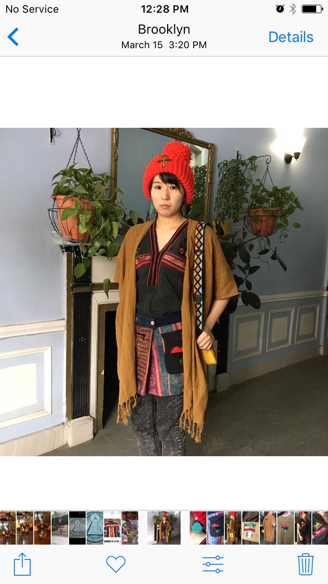 新品 リメイク 辛子 アフリカ 麻 カーデ...