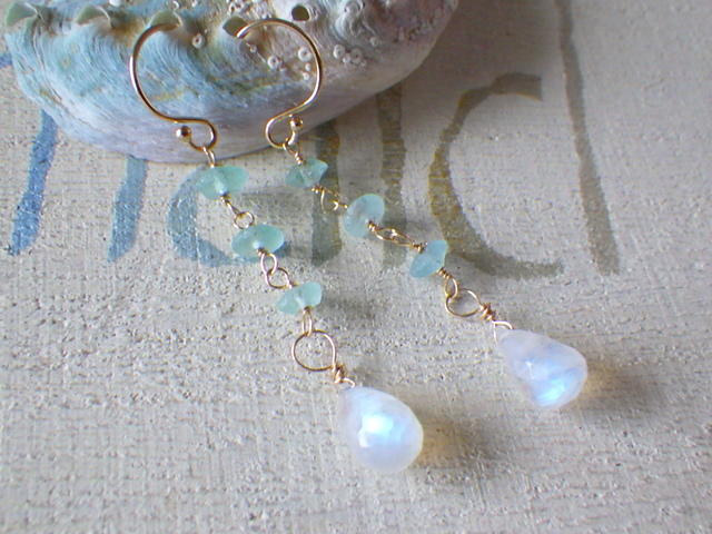 Moonstone&Roman Glass *14kgf* ??ピア...