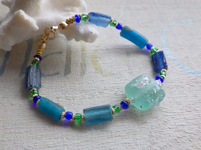 Roman Glass Deep Sea Bracelet  *14kgf*