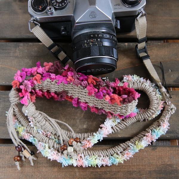 flower麻紐ヘンプカメラストラップ#11