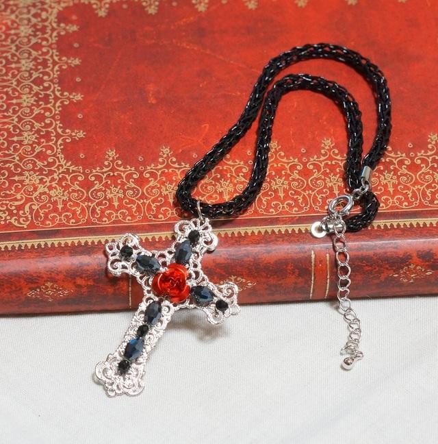 十字架と薔薇のチョーカー(ロジウムVer.)