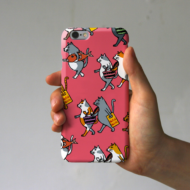 スマホケース  猫たち(ピンク)